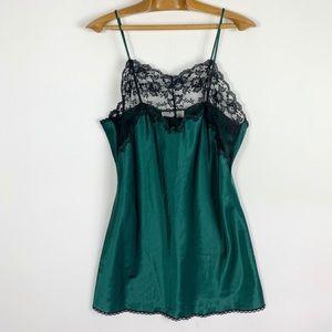 Vintage satin green black lace slip dress nightie